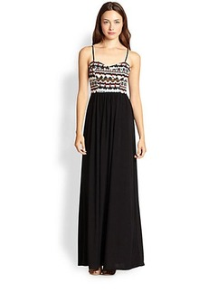 T-bags Los Angeles Printed-Bodice Maxi Dress