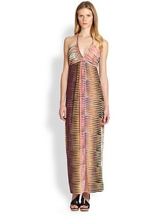 T-bags Los Angeles Printed Halter Maxi Dress