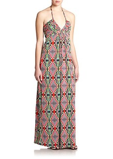 T-bags Los Angeles Printed Stretch Jersey Halter Maxi Dress