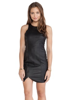 T-Bags LosAngeles Asymmetric Hem Leather Ponti Dress