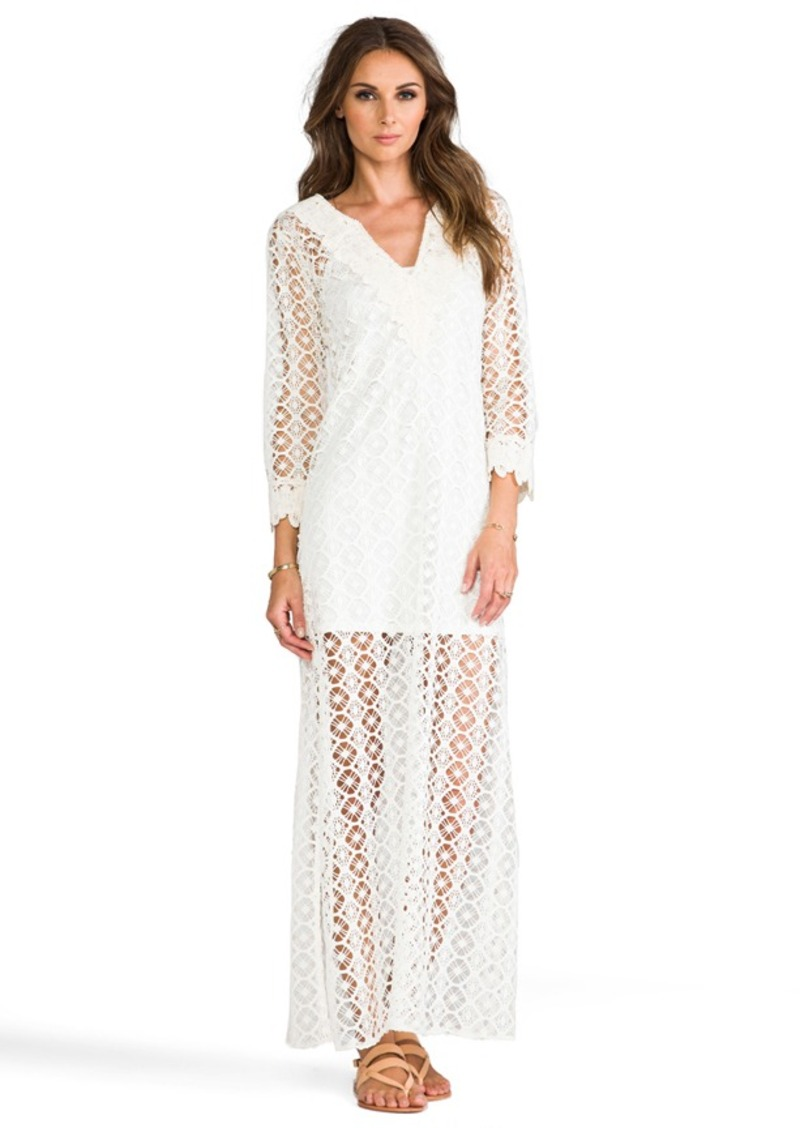 T-Bags LosAngeles Crochet Long Sleeve Maxi Dress in White