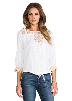 T-Bags LosAngeles Crochet Long Sleeve Top in White
