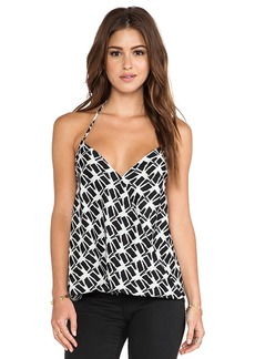 T-Bags LosAngeles Drape Front Tank in Black & White