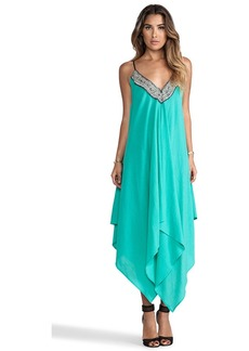 T-Bags LosAngeles Embellished Asymmetrical Maxi Dress with Tonal Hem in Green