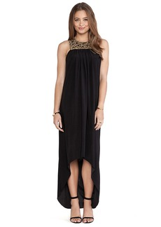 T-Bags LosAngeles Embellished Yoke Maxi Dress in Black