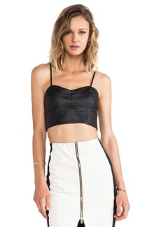 T-Bags LosAngeles Leather Crop Top in Black