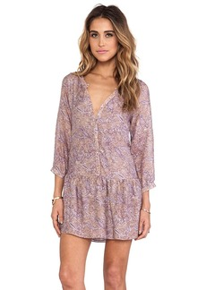 T-Bags LosAngeles Long Sleeve Henley Dress in Mauve