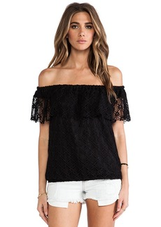 T-Bags LosAngeles Off The Shoulder Lace Top in Black