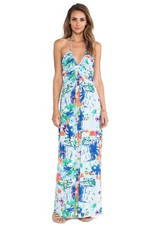 T-Bags LosAngeles Plunging Halter Maxi Dress in Blue