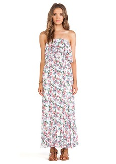 T-Bags LosAngeles Ruffled Strapless Maxi Dress in White