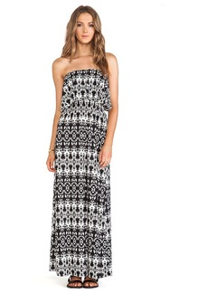 T-Bags LosAngeles Strapless Tiered Maxi Dress in Black & White