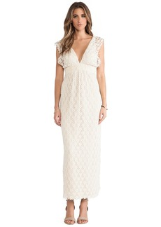 T-Bags LosAngeles V Neck Lace Maxi Dress in Cream