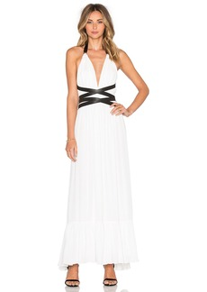 T-Bags LosAngeles V Neck Open Back Maxi Dress