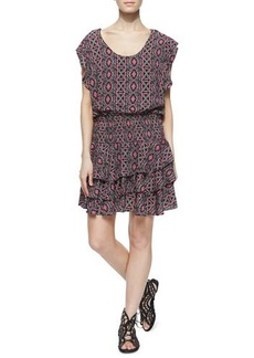 T Bags Multipattern Tiered Flutter-Sleeve Dress