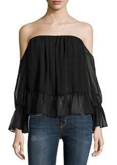 T Bags Off-the-Shoulder Chiffon Ruffle-Trim Top, Black