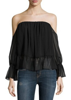 T Bags Off-the-Shoulder Chiffon Ruffle-Trim Top