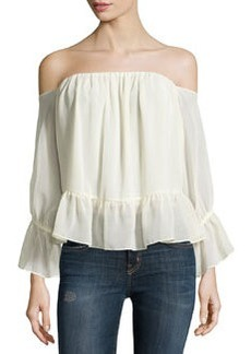 T Bags Off-the-Shoulder Chiffon Ruffle-Trim Top, Butter