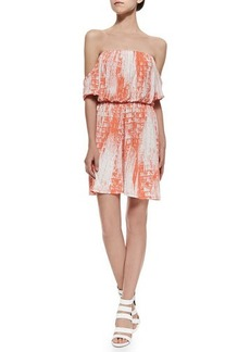 T Bags Off-The-Shoulder Dress W/ Shirred Print