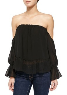 T Bags Off-the-Shoulder Top with Ruffled Hem