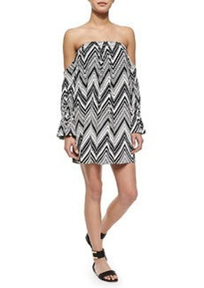 T Bags Off-the-Shoulder Zigzag-Print Dress
