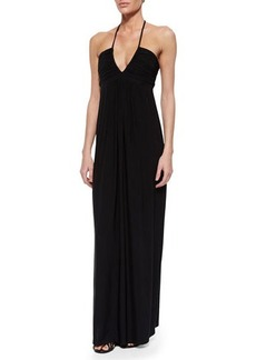 T Bags Ruched Maxi Halter Dress, Black