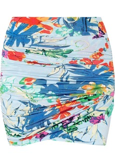 T-Bags Ruched printed satin-jersey mini skirt