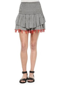 T Bags Shirred Printed Skirt with Beaded Trim
