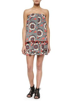 T Bags Tiered Strapless Printed Mini Dress