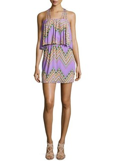 T-Bags Zigzag-Print Halter Dress, Purple