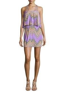 T-Bags Zigzag-Print Halter Dress, Purple