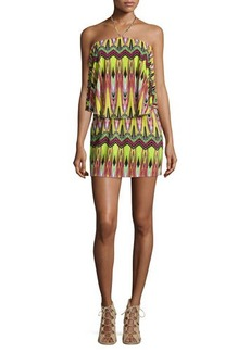 T Bags Zigzag-Print Jersey Halter Dress, Neon Yellow