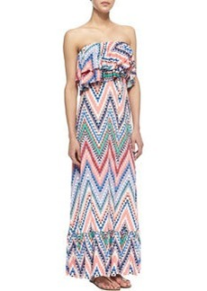 T Bags Zigzag Tiered Ruffled Maxi Dress