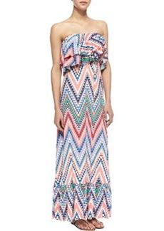 T Bags Zigzag Tiered Ruffled Maxi Dress