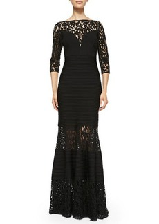 Tadashi Shoji 3/4-Sleeve Gown W/ lace Insets