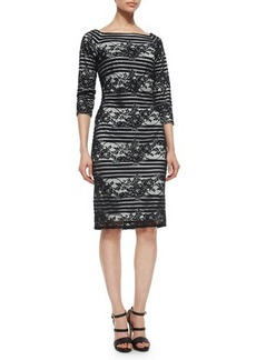 Tadashi Shoji 3/4-Sleeve Striped Lace Cocktail Dress