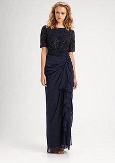 Tadashi Shoji Beaded Drape Gown