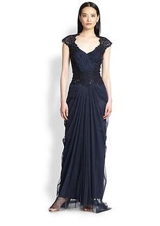 Tadashi Shoji Beaded V-Neck Gown