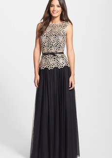 Tadashi Shoji Belted Embroidered Ball Gown