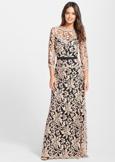 Tadashi Shoji Belted Embroidered Lace Gown (Regular & Petite)