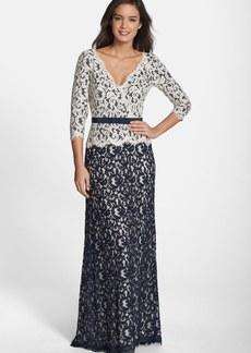Tadashi Shoji Belted Lace Gown (Regular & Petite)