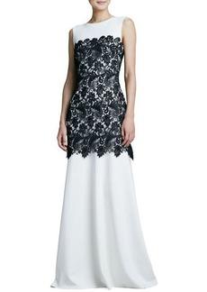 Tadashi Shoji Bicolor Lace-Overlay Gown