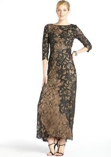 Tadashi Shoji black and nude lace 3/4 sleeve gown