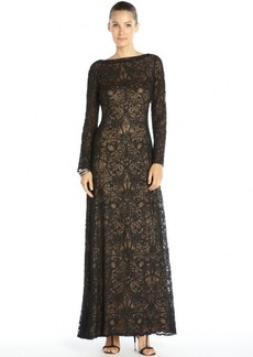 Tadashi Shoji black and nude stretch lace long sleeve dress