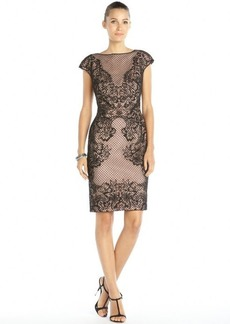 Tadashi Shoji black and pink lace and mesh overlay cap sleeve dress