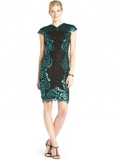 Tadashi Shoji black and teal sequined cotton blend lace cap sleeve dress