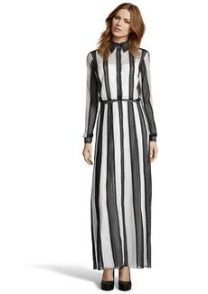 Tadashi Shoji black and white striped daisy lace shirtwaist gown