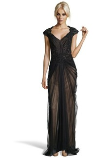 Tadashi Shoji black hand-beaded lace and ruched tulle v-neck evening gown