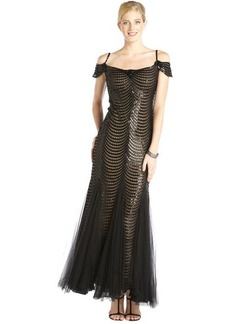 Tadashi Shoji black sequined off-shoulder cap sleeve gown