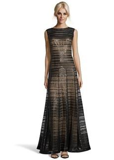Tadashi Shoji black sequined stripe mesh overlay sleeveless gown