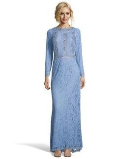 Tadashi Shoji blue stone lace jewel embroidered evening gown